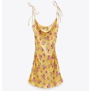 Zara Draped Floral Mini Slip Dress